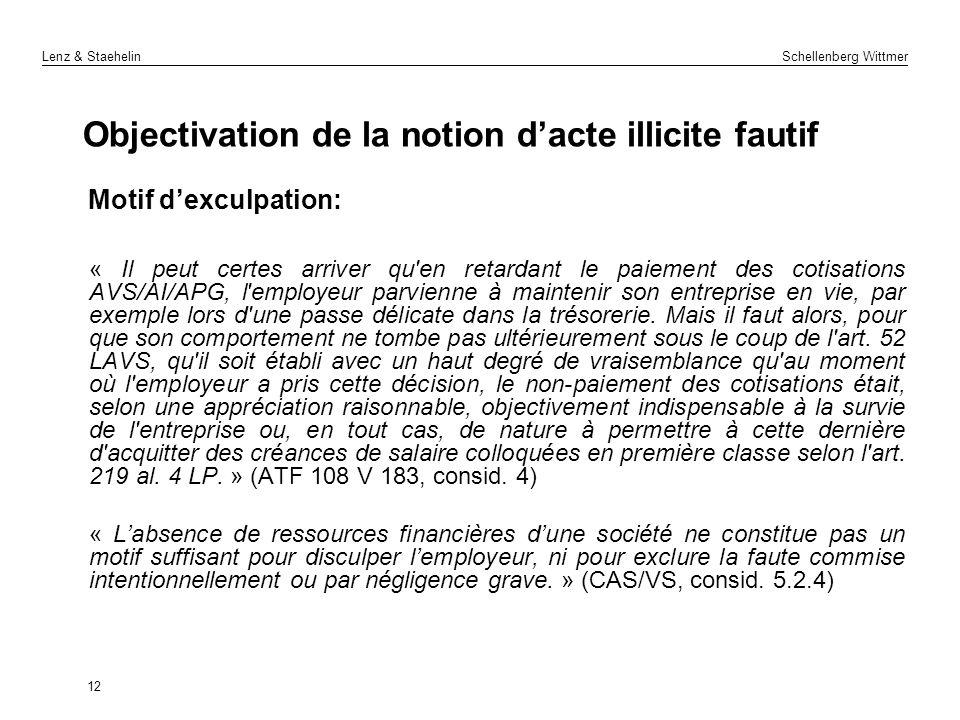 Lenz & Staehelin Schellenberg Wittmer Objectivation de la notion dacte illicite fautif Motif dexculpation: « Il peut certes arriver qu'en retardant le