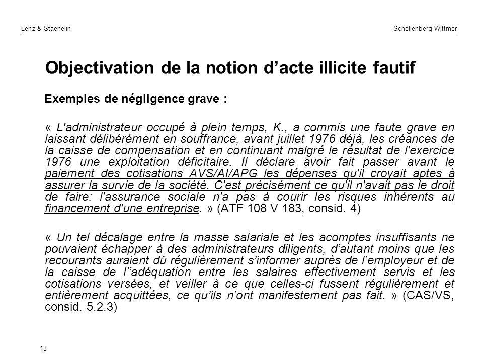 Lenz & Staehelin Schellenberg Wittmer Objectivation de la notion dacte illicite fautif Exemples de négligence grave : « L'administrateur occupé à plei