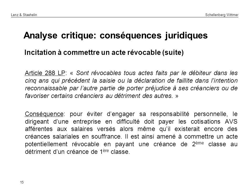 Lenz & Staehelin Schellenberg Wittmer 15 Analyse critique: conséquences juridiques Incitation à commettre un acte révocable (suite) Article 288 LP: «