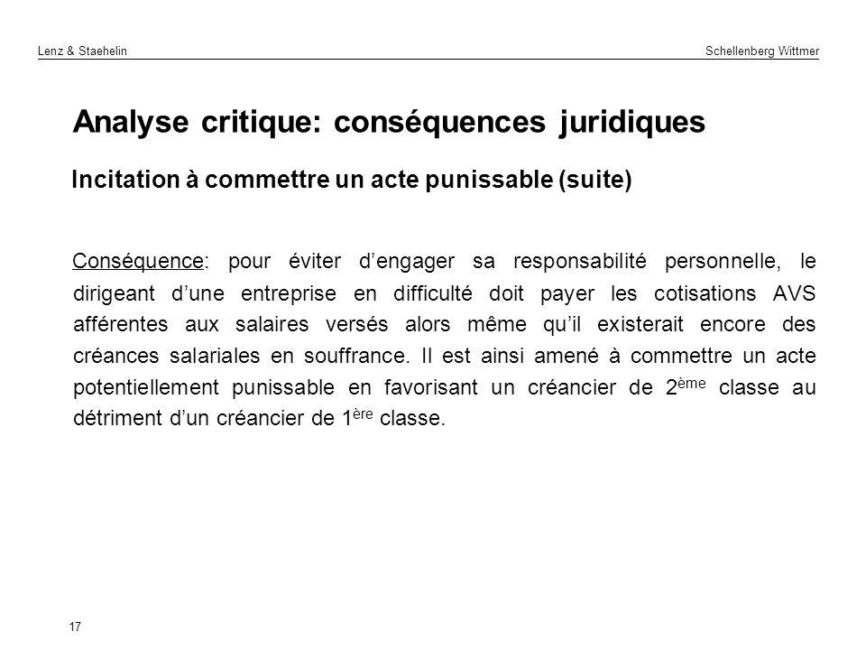 Lenz & Staehelin Schellenberg Wittmer Analyse critique: conséquences juridiques Incitation à commettre un acte punissable (suite) Conséquence: pour év