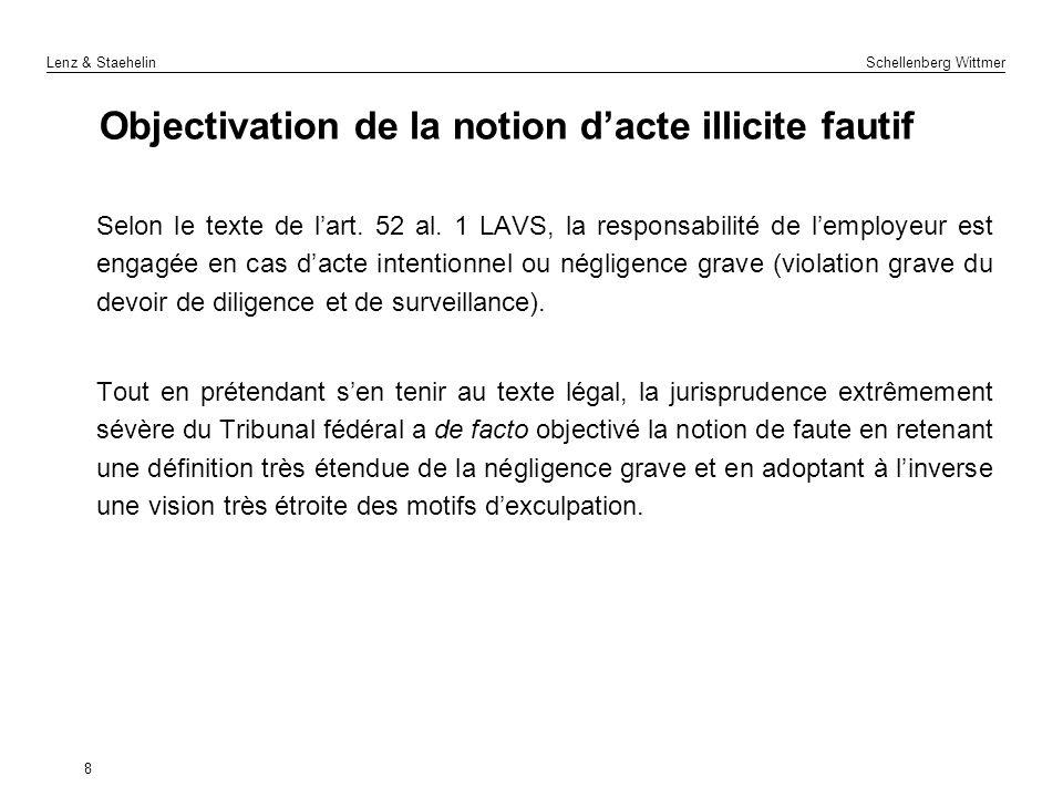 Lenz & Staehelin Schellenberg Wittmer 8 Objectivation de la notion dacte illicite fautif Selon le texte de lart. 52 al. 1 LAVS, la responsabilité de l