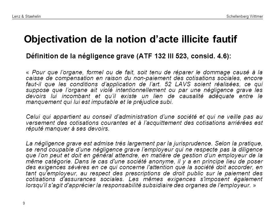 Lenz & Staehelin Schellenberg Wittmer Objectivation de la notion dacte illicite fautif Définition de la négligence grave (ATF 132 III 523, consid. 4.6