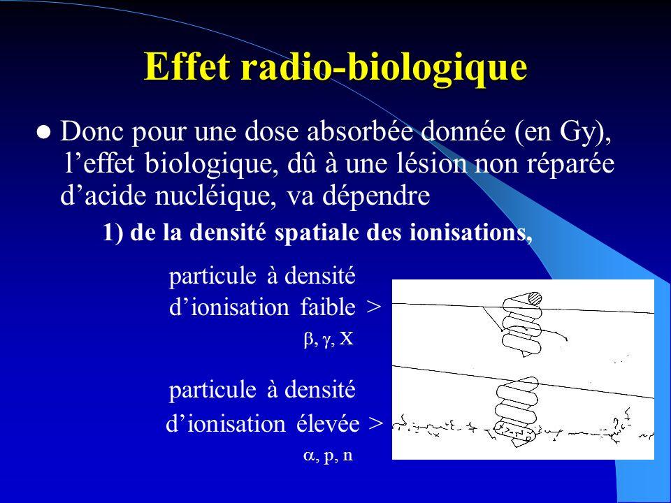 Effet radio-biologique Donc pour une dose absorbée donnée (en Gy), leffet biologique, dû à une lésion non réparée dacide nucléique, va dépendre 1) de la densité spatiale des ionisations, mais aussi 2) de la fréquence dexposition du matériel génétique (loi de Bregonié-Tribondeau, sensibilité tissulaire), – de loxygénation du milieu (effet oxygène) – de la densité temporelle des ionisations (débit de dose)...