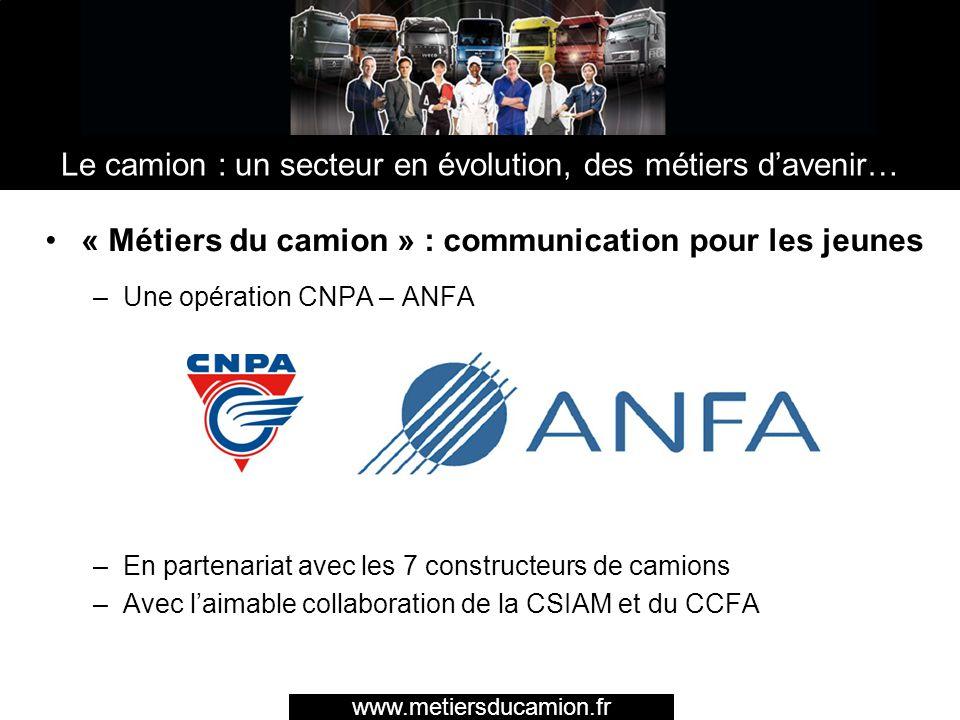 « Métiers du camion » : communication pour les jeunes –Une opération CNPA – ANFA –En partenariat avec les 7 constructeurs de camions –Avec laimable co