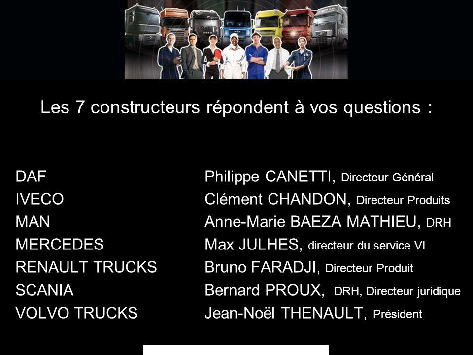 Les 7 constructeurs répondent à vos questions : DAFPhilippe CANETTI, Directeur Général IVECO Clément CHANDON, Directeur Produits MAN Anne-Marie BAEZA