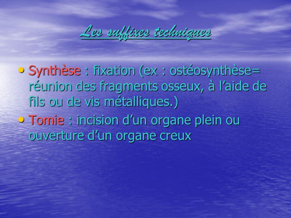 Les suffixes techniques Synthèse : fixation (ex : ostéosynthèse= réunion des fragments osseux, à laide de fils ou de vis métalliques.) Tomie : incisio