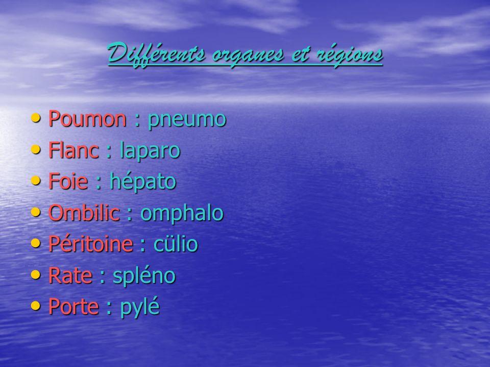 Différents organes et régions Poumon : pneumo Flanc : laparo Foie : hépato Ombilic : omphalo Péritoine : cülio Rate : spléno Porte : pylé