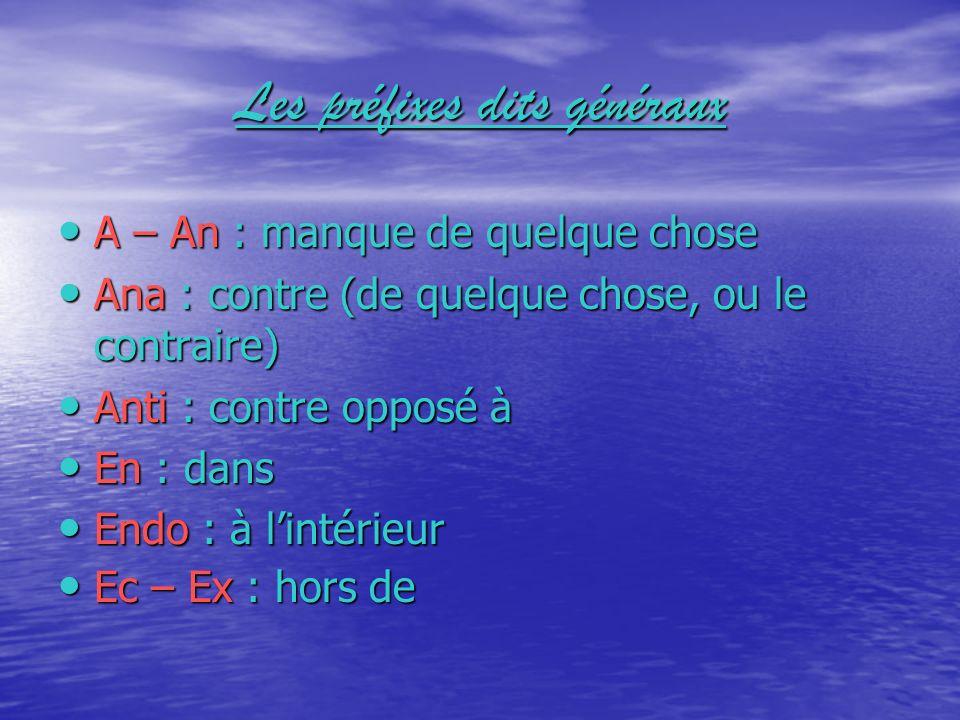 Les préfixes dits généraux In – Im : idée de négation In : dans Intra : dans