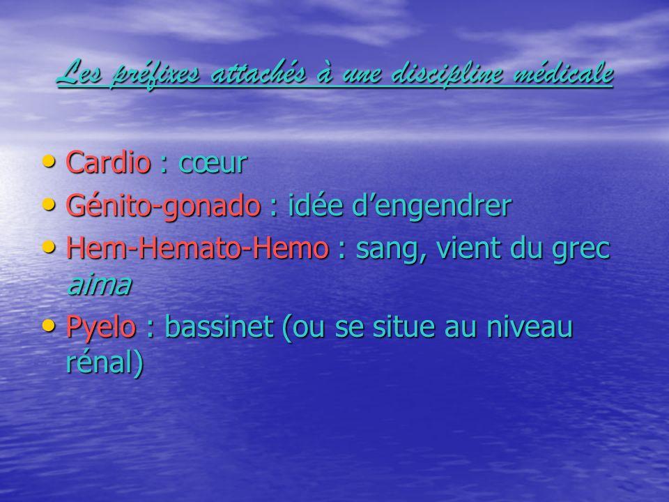 Les préfixes attachés à une discipline médicale Cardio : cœur Cardio : cœur Génito-gonado : idée dengendrer Génito-gonado : idée dengendrer Hem-Hemato
