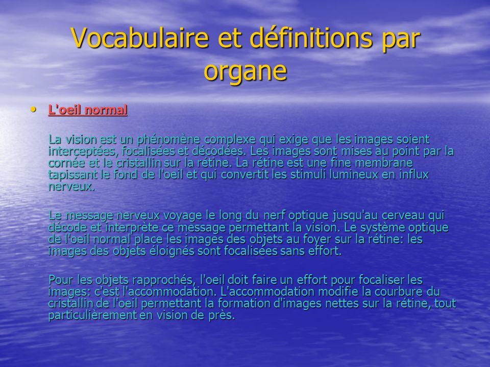 Vocabulaire et définitions par organe L'oeil normal L'oeil normal La vision est un phénomène complexe qui exige que les images soient interceptées, fo