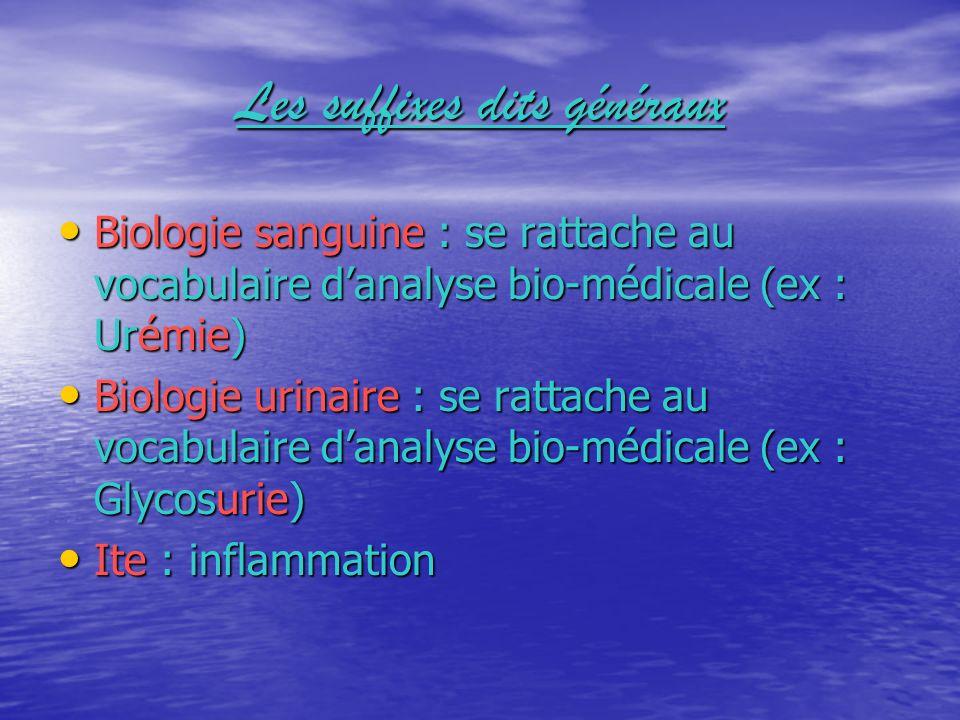 Les suffixes dits généraux Biologie sanguine : se rattache au vocabulaire danalyse bio-médicale (ex : Urémie) Biologie urinaire : se rattache au vocab