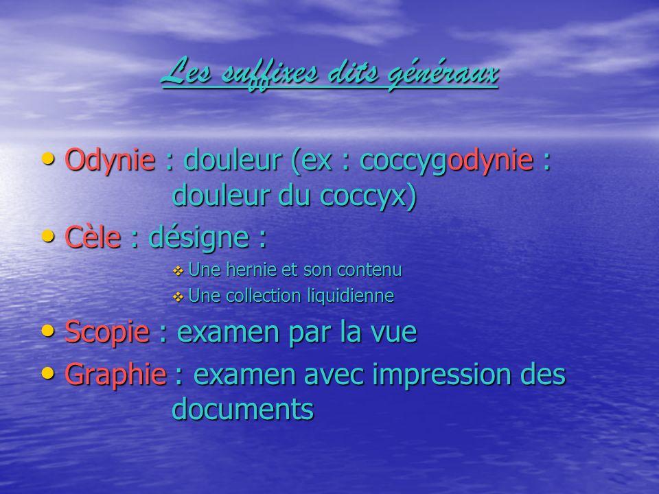 Les suffixes dits généraux Odynie : douleur (ex : coccygodynie : douleur du coccyx) Cèle : désigne : Une hernie et son contenu Une collection liquidie