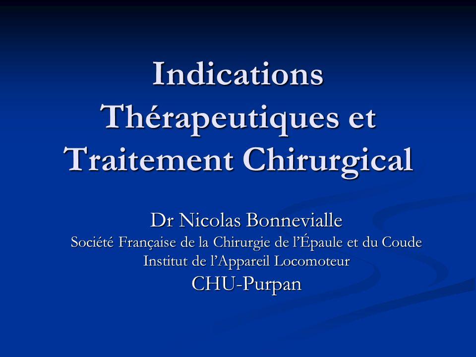Indications Thérapeutiques et Traitement Chirurgical Dr Nicolas Bonnevialle Société Française de la Chirurgie de lÉpaule et du Coude Institut de lAppa