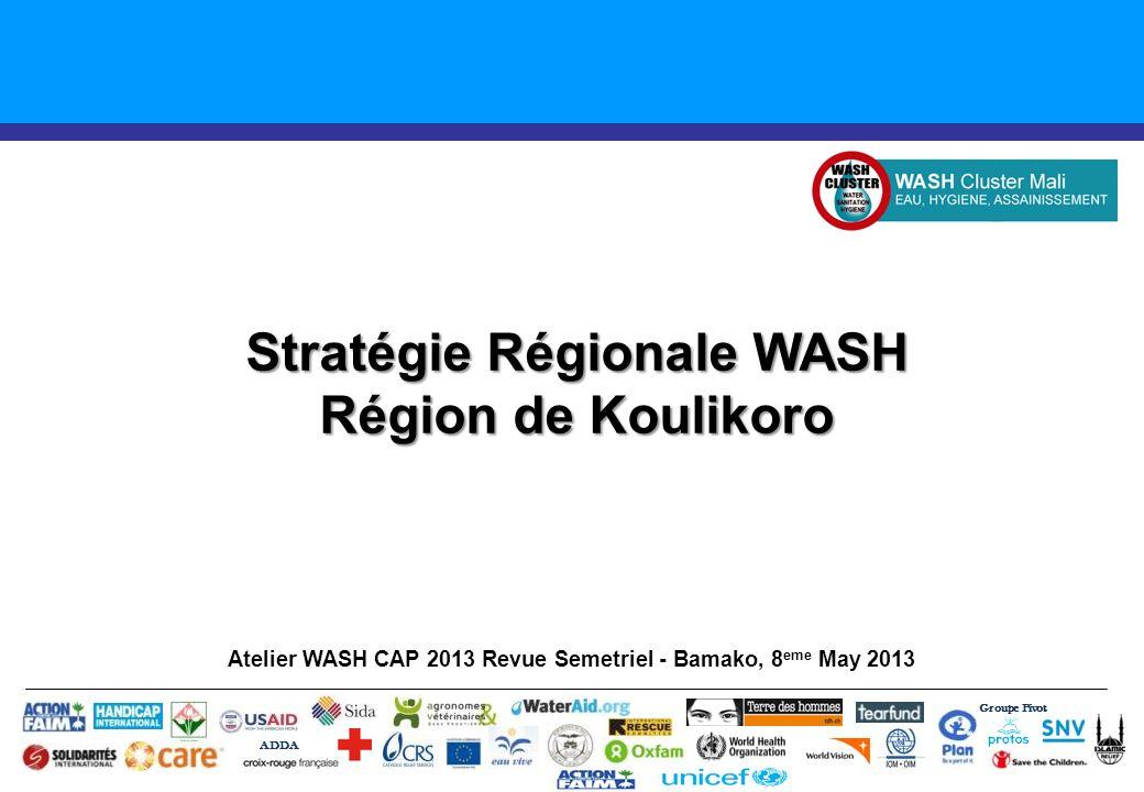 Introduction Gap Urgentes 2013 – Région de Koulikoro Activités Clés – Région de Koulikoro Chloration de 32 adductions (points) deau (Nara et Kangaba en priorite) Réparation des [XXX] pompes manuelles.