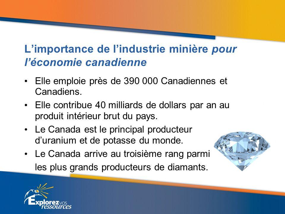 Débouchés Au cours des 10 prochaines années, lindustrie minière aura besoin de 92 000 nouveaux travailleurs et travailleuses.