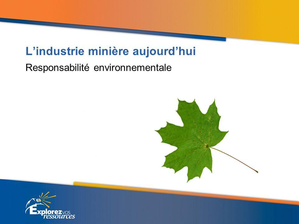 Lindustrie minière aujourdhui Responsabilité environnementale