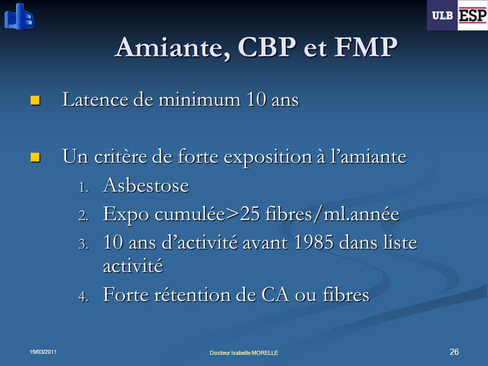 19/03/2011 26 Docteur Isabelle MORELLE Amiante, CBP et FMP Latence de minimum 10 ans Latence de minimum 10 ans Un critère de forte exposition à lamian