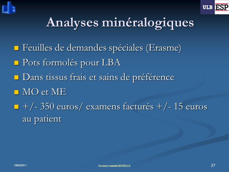 19/03/2011 27 Docteur Isabelle MORELLE Analyses minéralogiques Feuilles de demandes spéciales (Erasme) Feuilles de demandes spéciales (Erasme) Pots fo