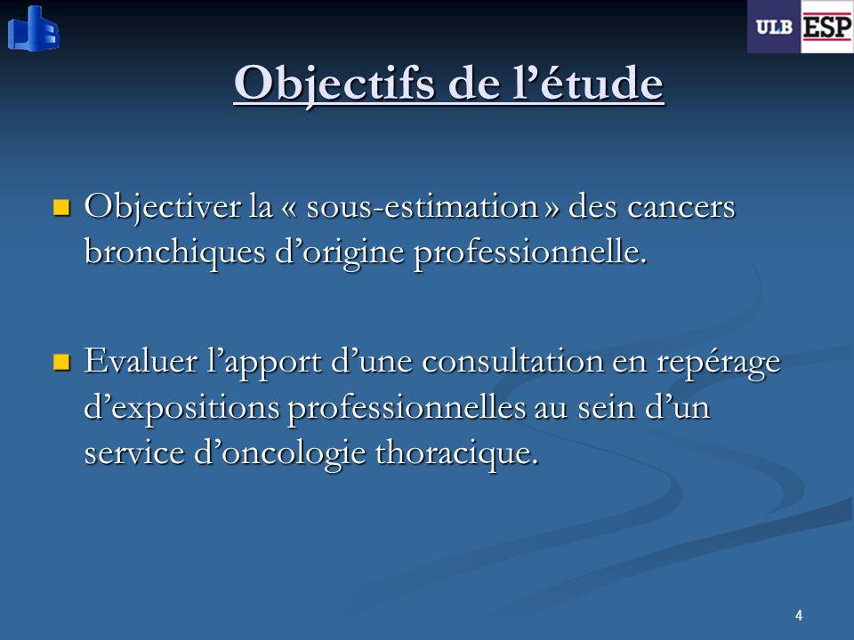 4 Objectifs de létude Objectiver la « sous-estimation » des cancers bronchiques dorigine professionnelle. Objectiver la « sous-estimation » des cancer
