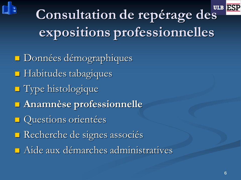 6 Consultation de repérage des expositions professionnelles Données démographiques Données démographiques Habitudes tabagiques Habitudes tabagiques Ty