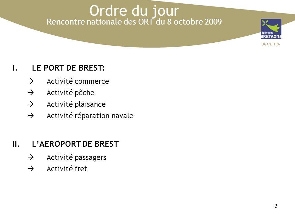 DG4/DITRA 2 Ordre du jour Rencontre nationale des ORT du 8 octobre 2009 I.LE PORT DE BREST: Activité commerce Activité pêche Activité plaisance Activité réparation navale II.LAEROPORT DE BREST Activité passagers Activité fret