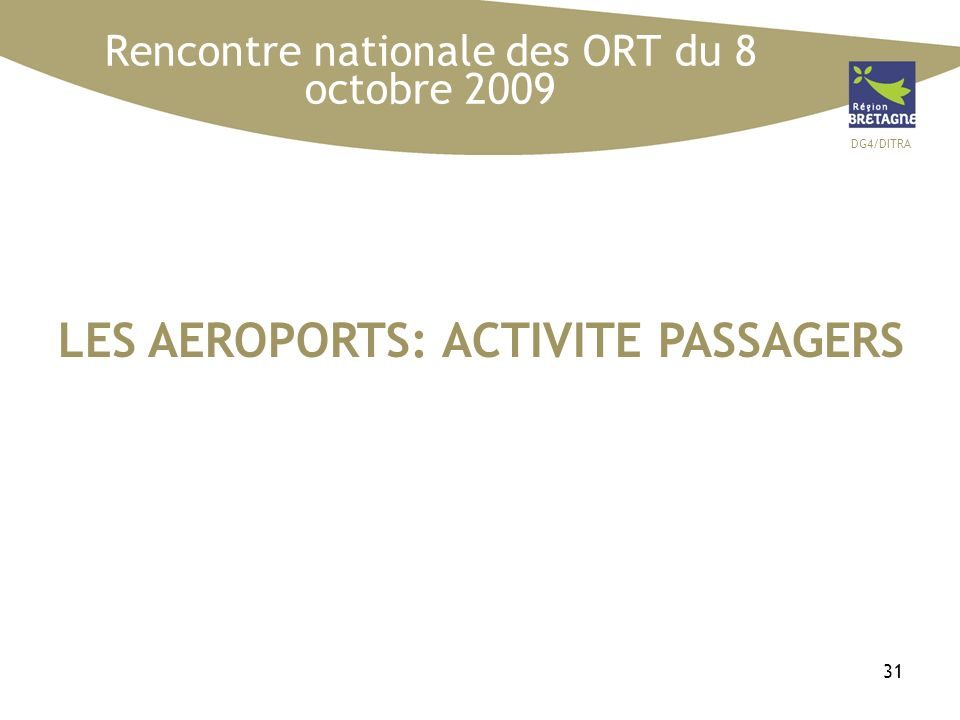 DG4/DITRA 31 LES AEROPORTS: ACTIVITE PASSAGERS Rencontre nationale des ORT du 8 octobre 2009