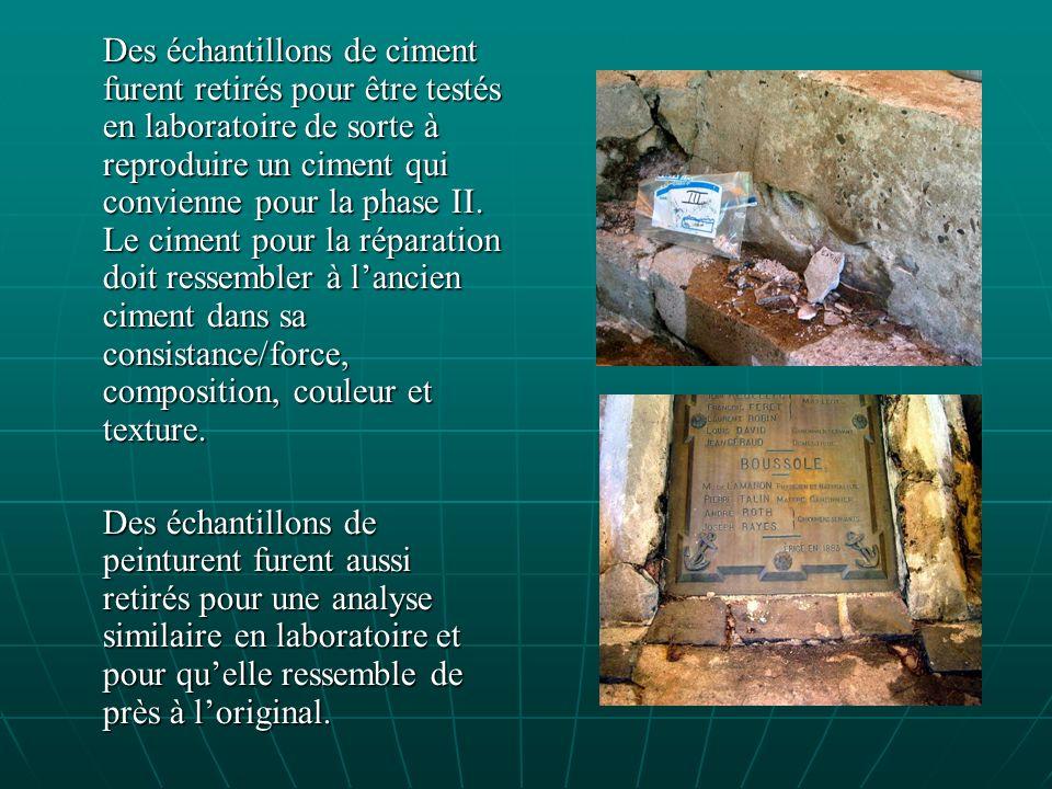 Des échantillons de ciment furent retirés pour être testés en laboratoire de sorte à reproduire un ciment qui convienne pour la phase II.