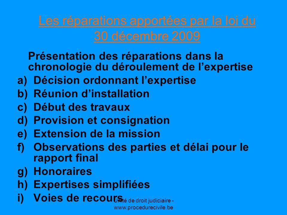 Unité de droit judiciaire - www.procedurecivile.be Les réparations apportées par la loi du 30 décembre 2009 Présentation des réparations dans la chron