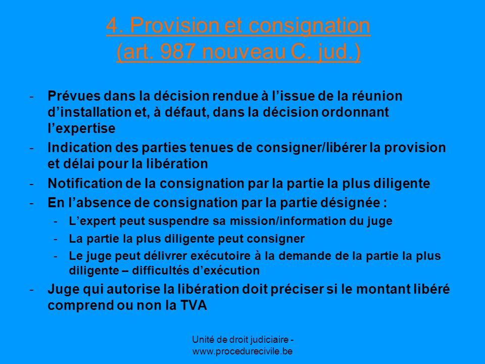 Unité de droit judiciaire - www.procedurecivile.be 4. Provision et consignation (art. 987 nouveau C. jud.) -Prévues dans la décision rendue à lissue d