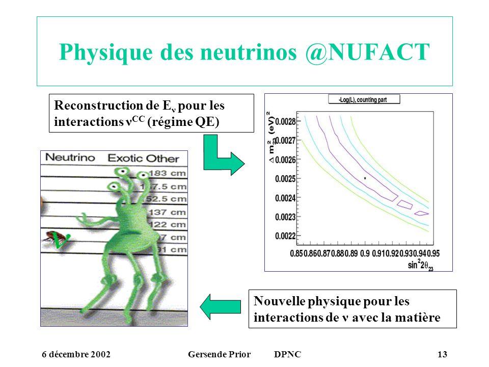 6 décembre 2002Gersende Prior DPNC13 Physique des neutrinos @NUFACT Reconstruction de E ν pour les interactions ν CC (régime QE) Nouvelle physique pou