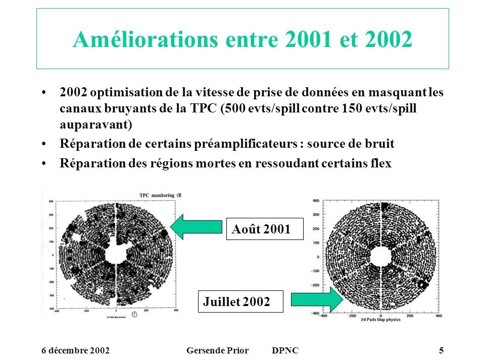 6 décembre 2002Gersende Prior DPNC5 Améliorations entre 2001 et 2002 2002 optimisation de la vitesse de prise de données en masquant les canaux bruyan