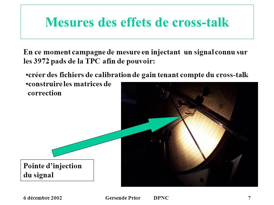 6 décembre 2002Gersende Prior DPNC7 Mesures des effets de cross-talk En ce moment campagne de mesure en injectant un signal connu sur les 3972 pads de