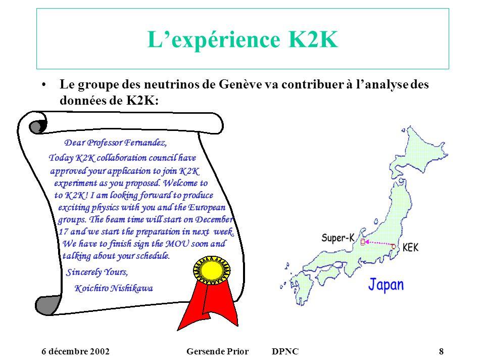 6 décembre 2002Gersende Prior DPNC9 Evènement avec la cible K2K Réplique K2K Al cible épaisse