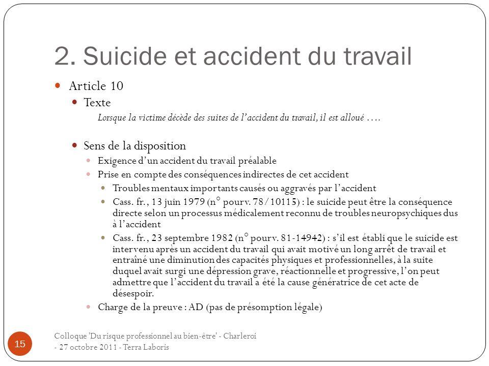 2. Suicide et accident du travail Colloque 'Du risque professionnel au bien-être' - Charleroi - 27 octobre 2011 - Terra Laboris 15 Article 10 Texte Lo