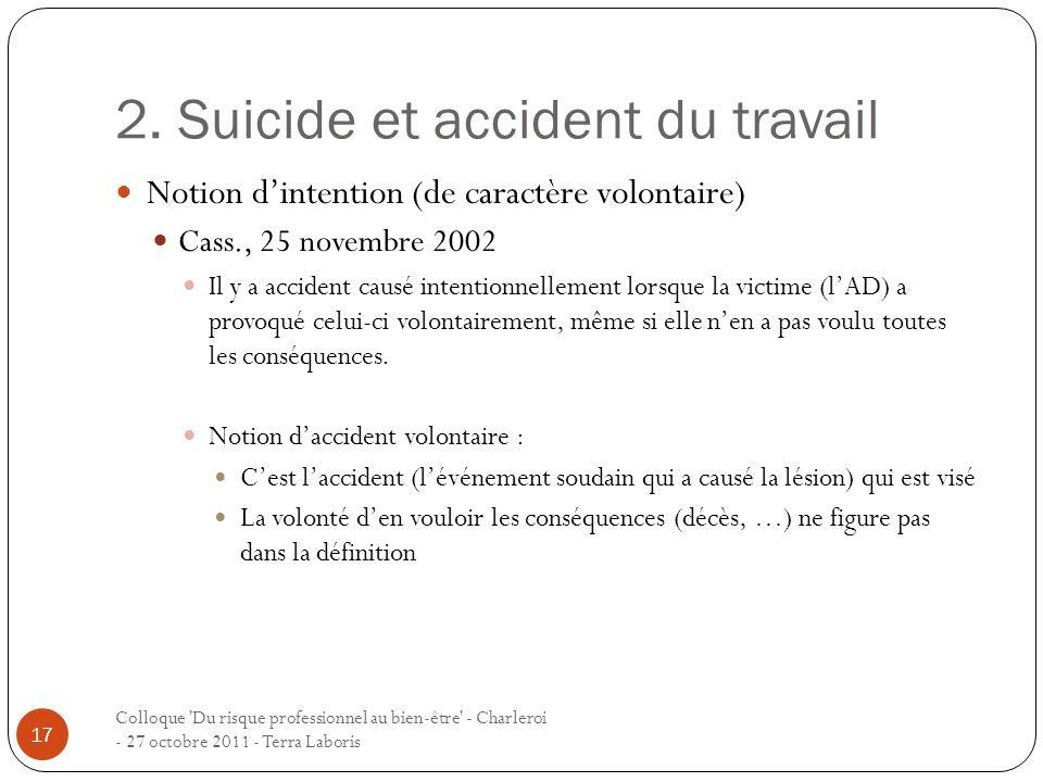 2. Suicide et accident du travail Colloque 'Du risque professionnel au bien-être' - Charleroi - 27 octobre 2011 - Terra Laboris 17 Notion dintention (