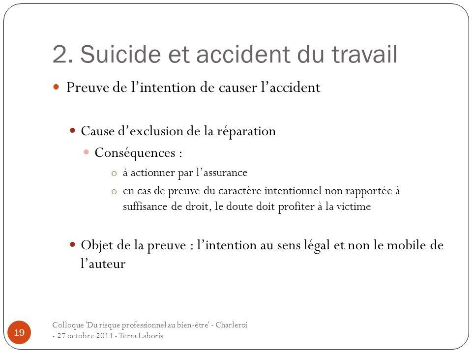 2. Suicide et accident du travail Colloque 'Du risque professionnel au bien-être' - Charleroi - 27 octobre 2011 - Terra Laboris 19 Preuve de lintentio