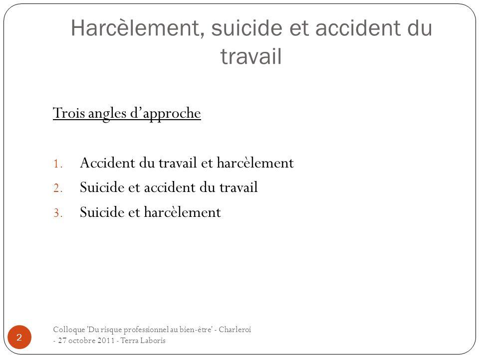 Colloque 'Du risque professionnel au bien-être' - Charleroi - 27 octobre 2011 - Terra Laboris 2 Trois angles dapproche 1. Accident du travail et harcè