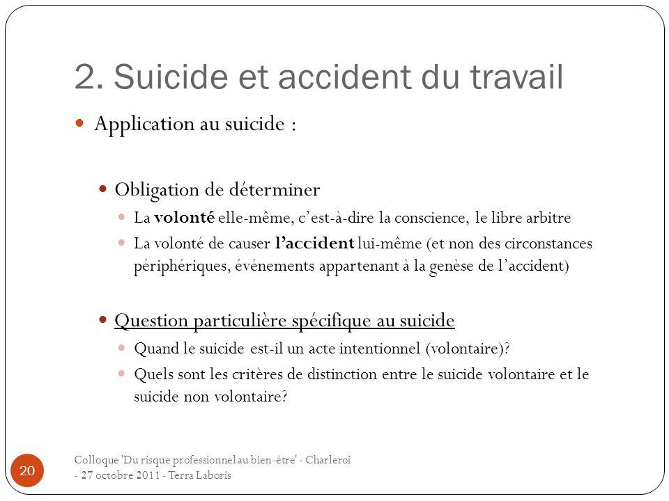 2. Suicide et accident du travail Colloque 'Du risque professionnel au bien-être' - Charleroi - 27 octobre 2011 - Terra Laboris 20 Application au suic