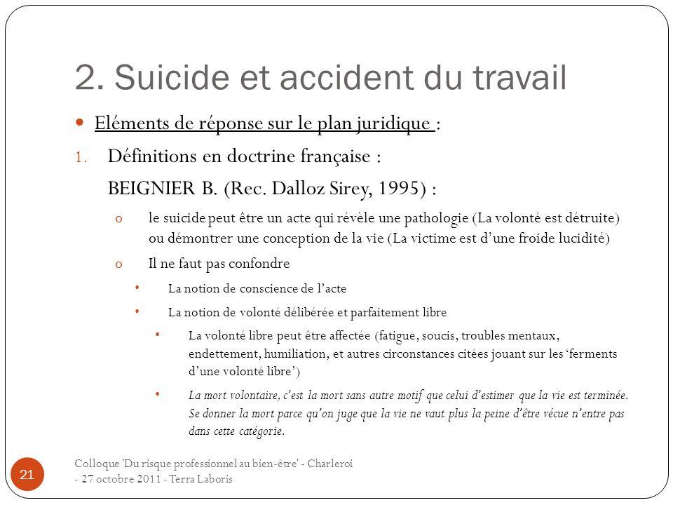 2. Suicide et accident du travail Colloque 'Du risque professionnel au bien-être' - Charleroi - 27 octobre 2011 - Terra Laboris 21 Eléments de réponse