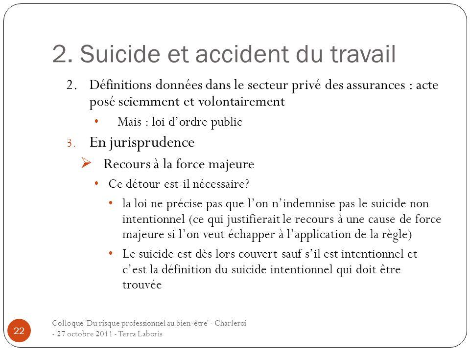 2. Suicide et accident du travail Colloque 'Du risque professionnel au bien-être' - Charleroi - 27 octobre 2011 - Terra Laboris 22 2.Définitions donné