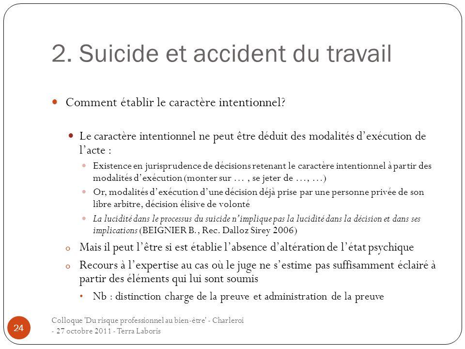 2. Suicide et accident du travail Colloque 'Du risque professionnel au bien-être' - Charleroi - 27 octobre 2011 - Terra Laboris 24 Comment établir le
