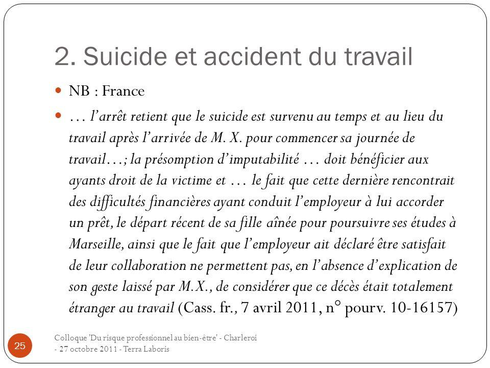 2. Suicide et accident du travail Colloque 'Du risque professionnel au bien-être' - Charleroi - 27 octobre 2011 - Terra Laboris 25 NB : France … larrê