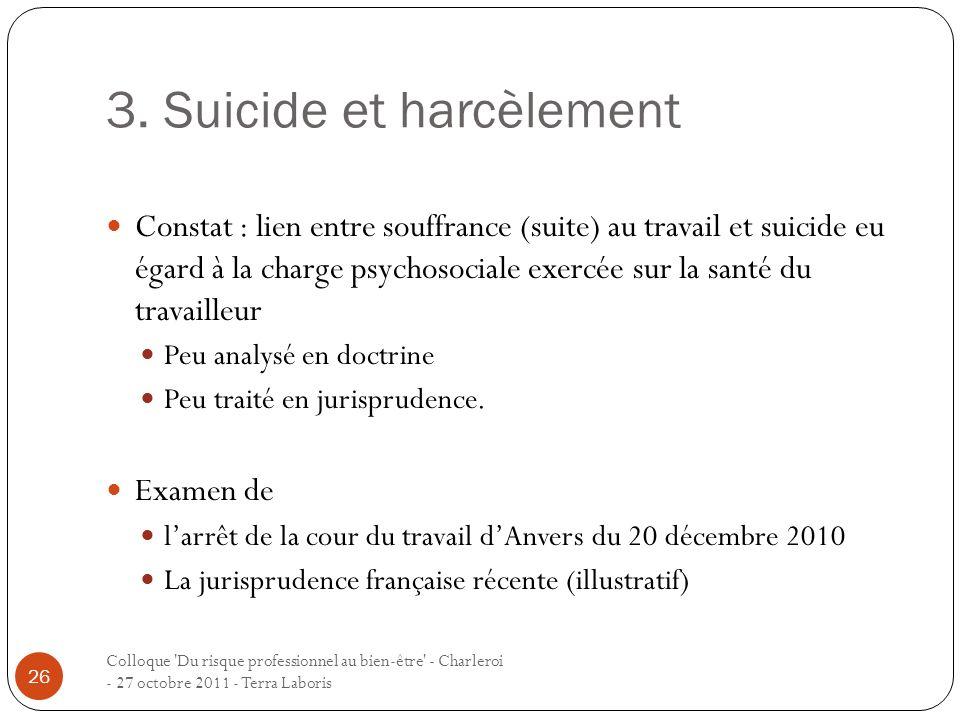 3. Suicide et harcèlement Colloque 'Du risque professionnel au bien-être' - Charleroi - 27 octobre 2011 - Terra Laboris 26 Constat : lien entre souffr