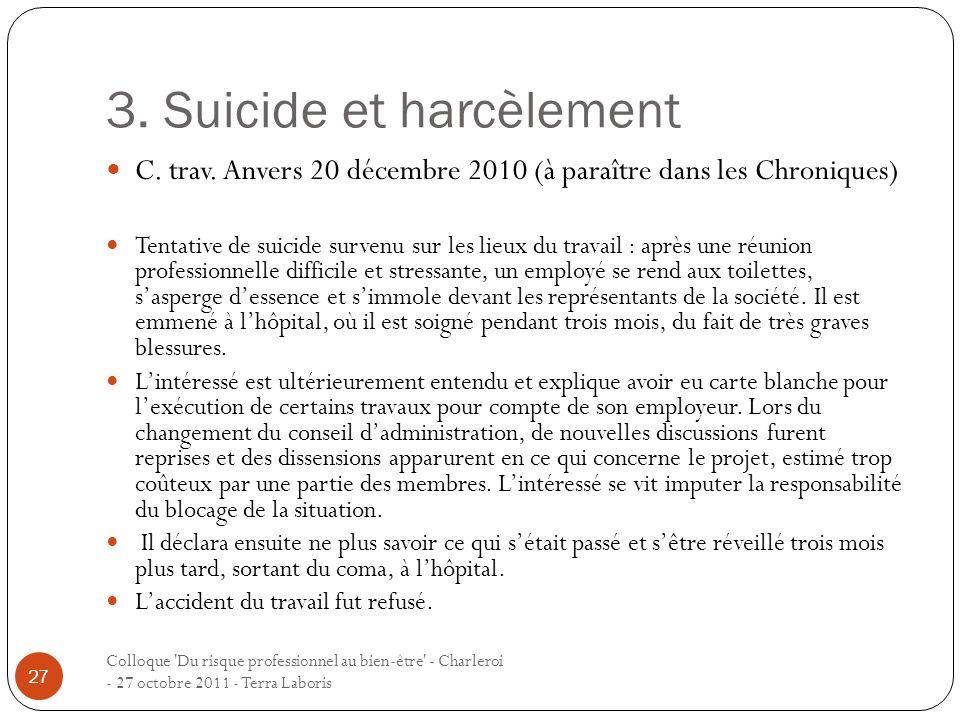 3. Suicide et harcèlement Colloque 'Du risque professionnel au bien-être' - Charleroi - 27 octobre 2011 - Terra Laboris 27 C. trav. Anvers 20 décembre