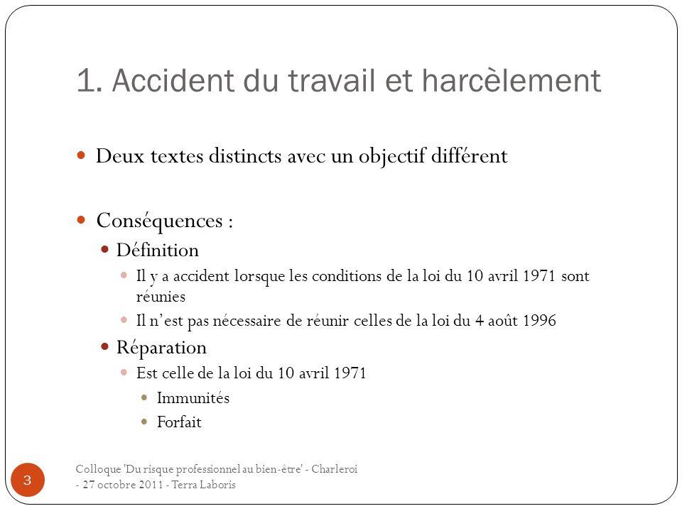 1. Accident du travail et harcèlement Colloque 'Du risque professionnel au bien-être' - Charleroi - 27 octobre 2011 - Terra Laboris 3 Deux textes dist