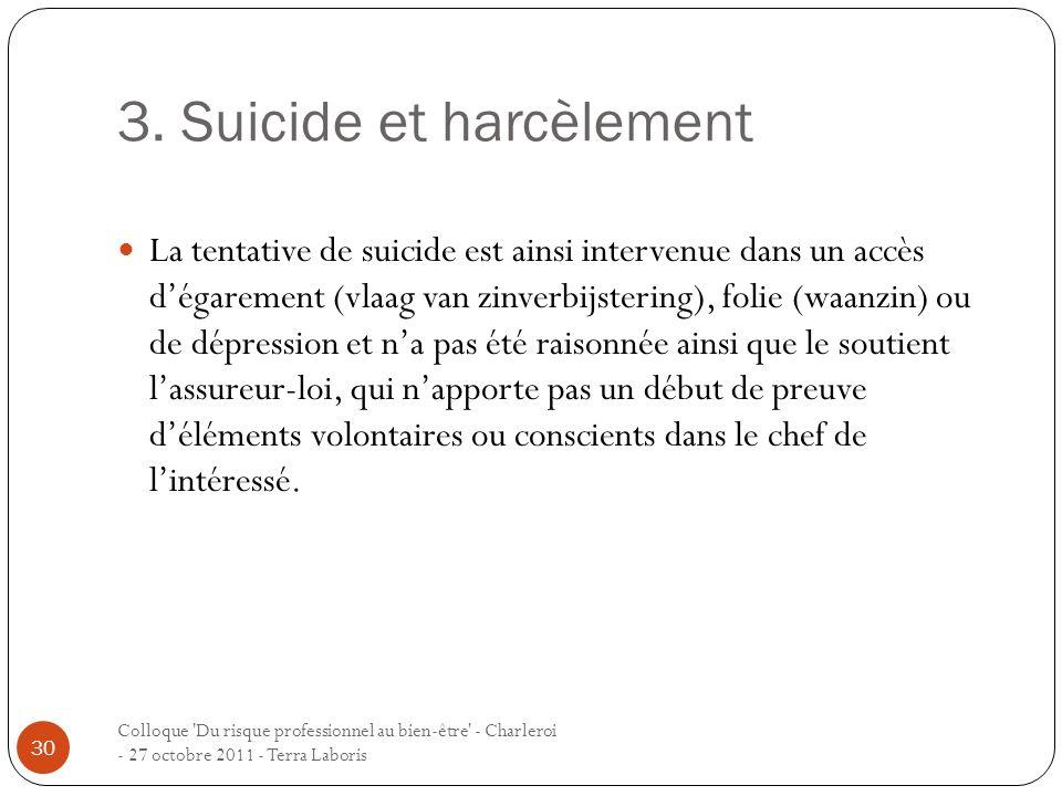 3. Suicide et harcèlement Colloque 'Du risque professionnel au bien-être' - Charleroi - 27 octobre 2011 - Terra Laboris 30 La tentative de suicide est