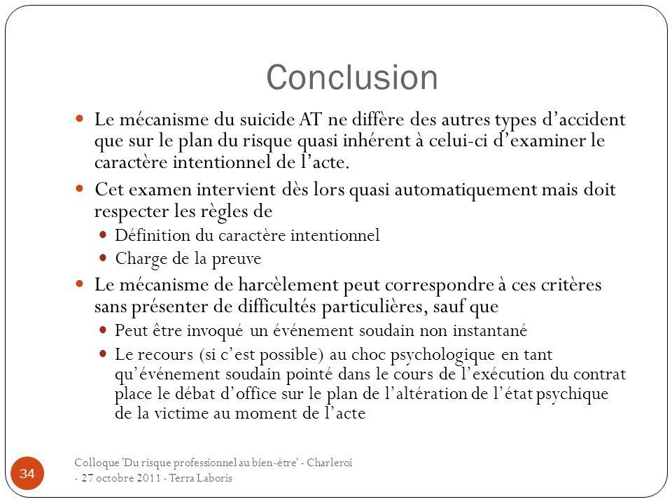 Conclusion Colloque 'Du risque professionnel au bien-être' - Charleroi - 27 octobre 2011 - Terra Laboris 34 Le mécanisme du suicide AT ne diffère des
