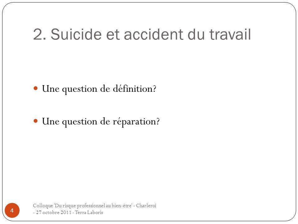 2. Suicide et accident du travail Une question de définition? Une question de réparation? 4 Colloque 'Du risque professionnel au bien-être' - Charlero