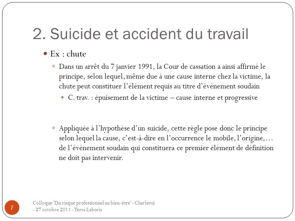 2. Suicide et accident du travail Colloque 'Du risque professionnel au bien-être' - Charleroi - 27 octobre 2011 - Terra Laboris 7 Ex : chute Dans un a