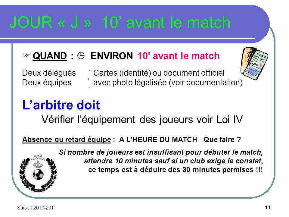 Saison 2010-2011 11 JOUR « J » 10 avant le match QUAND : ENVIRON 10' avant le match Deux délégués Cartes (identité) ou document officiel Deux équipes